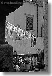 black and white, croatia, dubrovnik, europe, hangings, laundry, vertical, photograph