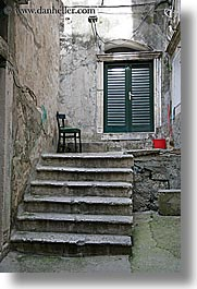 chairs, croatia, doors, dubrovnik, europe, stairs, vertical, photograph