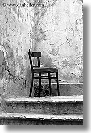 black and white, chairs, croatia, dubrovnik, europe, lone, vertical, photograph
