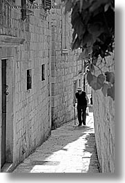 black and white, croatia, dubrovnik, europe, men, narrow streets, old, vertical, walking, photograph