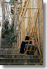 croatia, dubrovnik, europe, narrow streets, painters, stairs, vertical, photograph