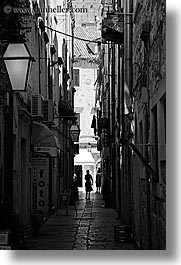 alleys, black and white, croatia, dubrovnik, europe, narrow streets, people, vertical, photograph