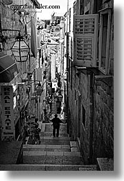 black and white, croatia, dubrovnik, europe, narrow streets, people, stairs, vertical, photograph