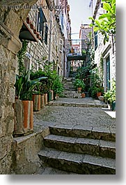 alleys, croatia, dubrovnik, europe, lined, narrow streets, plants, vertical, photograph