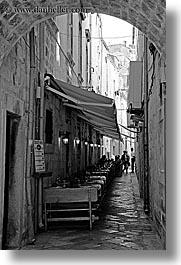 alleys, black and white, croatia, dubrovnik, europe, narrow streets, restaurants, vertical, photograph