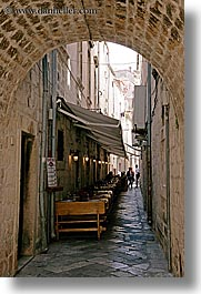alleys, croatia, dubrovnik, europe, narrow streets, restaurants, vertical, photograph