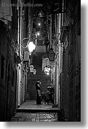 alleyway, black and white, croatia, dubrovnik, europe, lamp posts, nite, slow exposure, smokers, streets, vertical, photograph