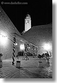 black and white, cafes, croatia, dubrovnik, europe, nite, streets, vertical, photograph