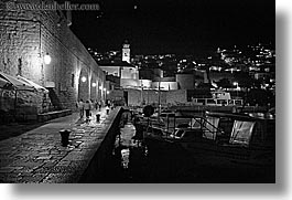 black and white, croatia, dubrovnik, europe, harbor, horizontal, nite, sidewalks, photograph