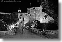 black and white, croatia, dubrovnik, entrance, europe, horizontal, nite, piles, slow exposure, photograph