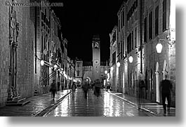black and white, croatia, dubrovnik, europe, horizontal, motion blur, nite, placa, slow exposure, stradum, streets, photograph