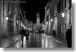 black and white, croatia, dubrovnik, europe, horizontal, nite, placa, slow exposure, stradum, streets, photograph