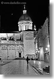 black and white, croatia, dubrovnik, europe, nite, placa, slow exposure, stradum, streets, vertical, photograph