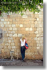 croatia, dubrovnik, europe, girls, people, teenagers, vertical, walls, photograph