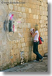 belt, croatia, dubrovnik, europe, people, phones, pink, teenagers, vertical, photograph