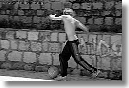 black and white, boys, croatia, dubrovnik, europe, horizontal, people, soccer, photograph