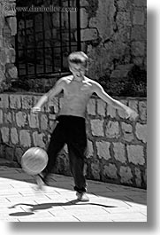 black and white, boys, croatia, dubrovnik, europe, people, soccer, vertical, photograph