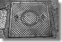 black and white, croatia, dubrovnik, europe, horizontal, manholes, streets, photograph