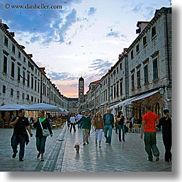 croatia, dubrovnik, europe, people, square format, stradum, streets, sunsets, photograph