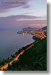 cityscapes, croatia, dubrovnik, europe, ocean, slow exposure, sunsets, vertical, photograph