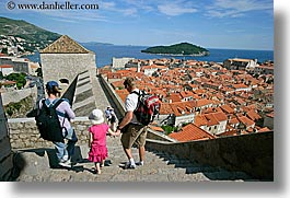 childrens, cityscapes, croatia, dubrovnik, europe, families, fathers, girls, horizontal, mothers, stairs, town view, townview, photograph
