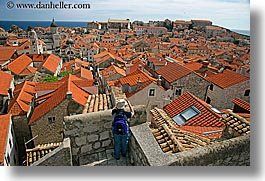 cityscapes, croatia, dubrovnik, europe, horizontal, overlook, people, photographers, town view, townview, womens, photograph