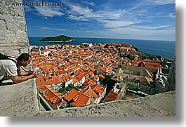 cityscapes, croatia, dubrovnik, europe, horizontal, men, overlook, people, photographers, town view, townview, photograph