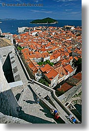 cityscapes, croatia, dubrovnik, europe, overlook, people, town view, townview, vertical, photograph