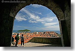 arches, archways, cityscapes, croatia, dubrovnik, europe, horizontal, people, town view, towns, photograph