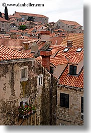croatia, dubrovnik, europe, rooftops, town view, vertical, windows, photograph