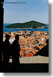cityscapes, croatia, dubrovnik, europe, people, silhouettes, town view, towns, vertical, photograph