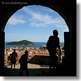 archways, cityscapes, croatia, dubrovnik, europe, people, silhouettes, square format, town view, towns, photograph