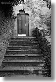 black and white, croatia, doors, europe, groznjan, stairs, vertical, photograph