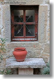 benches, croatia, europe, groznjan, pots, vertical, windows, photograph