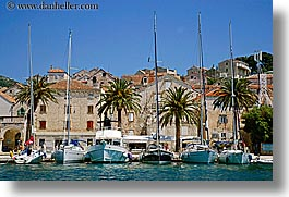 boats, croatia, europe, horizontal, hvar, ocean, towns, water, photograph