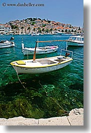 boats, croatia, europe, hvar, ocean, shadows, towns, vertical, water, photograph