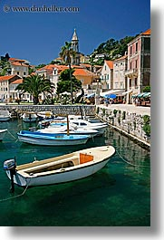 boats, croatia, europe, harbor, hvar, towns, vertical, photograph