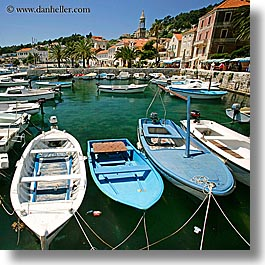 boats, croatia, europe, harbor, hvar, square format, towns, photograph