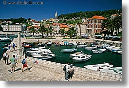 boats, croatia, europe, harbor, horizontal, hvar, people, towns, photograph