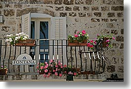 balconies, croatia, doors, europe, flowers, fontana, horizontal, hvar, photograph