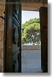 croatia, doors, europe, hvar, monastery, monestaries, trees, vertical, photograph