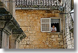 croatia, europe, horizontal, hvar, looking, out, people, windows, photograph