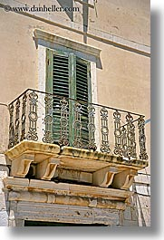 balconies, croatia, doors, europe, green, hvar, shutters, stones, vertical, photograph