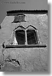 black and white, croatia, europe, hvar, venetian, vertical, windows, photograph