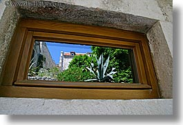 croatia, europe, gardens, horizontal, hvar, reflections, windows, photograph