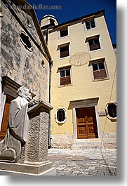 croatia, europe, hvar, statues, sundial, vertical, photograph