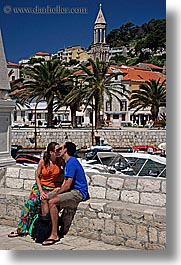 couples, croatia, europe, hvar, kissing, people, vertical, photograph