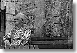 black and white, croatia, europe, horizontal, hvar, men, old, people, photograph
