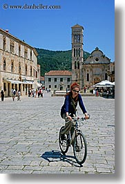bicycles, croatia, europe, hvar, people, vertical, womens, photograph