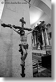 black and white, croatia, crosses, europe, hvar, jesus, st stephan cathedral, vertical, photograph